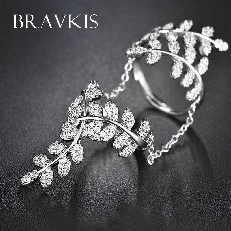 BRAVEKISS нежные микро проложить cz Камень Лист полные, кольца на палец с цепочкой женские полые кольца полосы anillo женские ювелирные изделия BUR0266