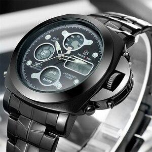 Hot Sales Origina Brand GOLED HOUR All Black Steel Shark Style Quartz Watch Men Analog Digital Watches Men's Relogio Masculino