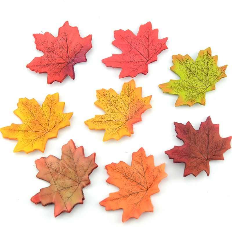 50 ชิ้น/แพ็คใบเมเปิ้ลประดิษฐ์สำหรับงานแต่งงานหน้าแรกตกแต่ง Scrapbooking Craft Multicolor Fall Vivid ปลอมดอกไม้
