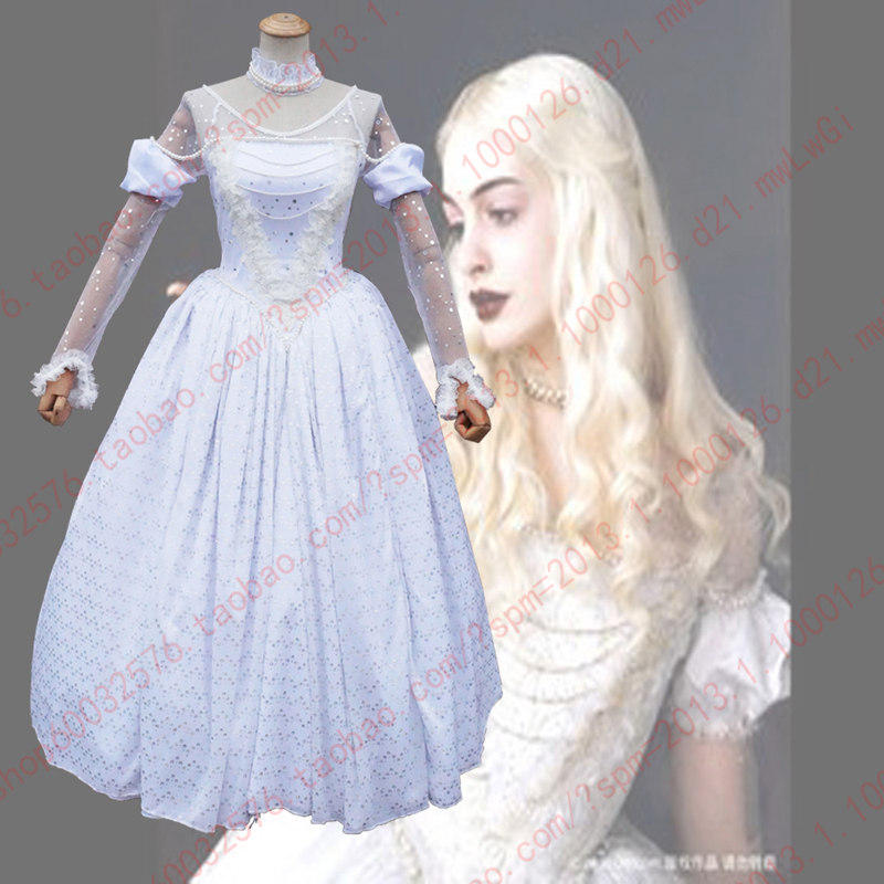 Custom Made 2016 American Fantasy Adventure Film Alice in Wonderland The White Queen Cosplay Costume With NeckLace