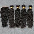Мокрый И Волнистые Перуанский Девственные Волосы С Закрытием Перуанский Вьющиеся волосы Переплетения 4 Пучки Девственница Волна Воды Девственные Волосы С закрытие