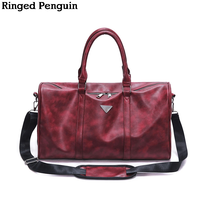 Ringed Penguin Women Fashion Shoulder Bag Waterproof PU Leather Travel Handbag Big Capacity Men Weekend Duffle Tote Travel Bags