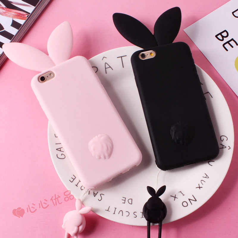 buy popular 4644b 55113 3D Cute Bunny Rabbit Ears Phone Case For iPhone X 10 7 8 Plus Soft Silicone  String Lanyard Case For iPhone 6 6s Plus 5s se Cover