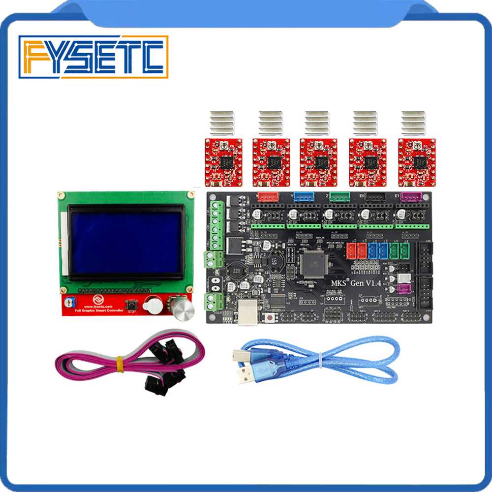 MKS Gen V1.4 3D printer kit with MKS Gen V1.4 RepRap board +5pcs TMC2100 /TMC2130/TMC2208/DRV8825/A4988 Stepstick Drivers mks gen l v1 0 integrated controller pcb board reprap ramps 1 4 support a4988 drv8825 tmc2208 tmc2130 driver for 3d printer