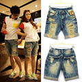 New Fashion Summer Lovers Short Jeans Feminino Casual Holes Denim Capris Plus Size Embroidery Roll Up Shorts Male And Female