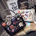 2017 Moda Bolsas De Couro Das Mulheres Tote Marca de Graffiti Impressão Dos Desenhos Animados Bolsa de Ombro Crossbody Sacthel Bolsa bolsas Mujer Li525