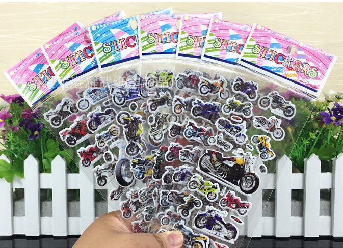 2016 So Cool !!! 6pcsVarious Motorcycle 3D Cartoon Stickers Best Christmas Gift Stickers For Baby Boys Free Shipping