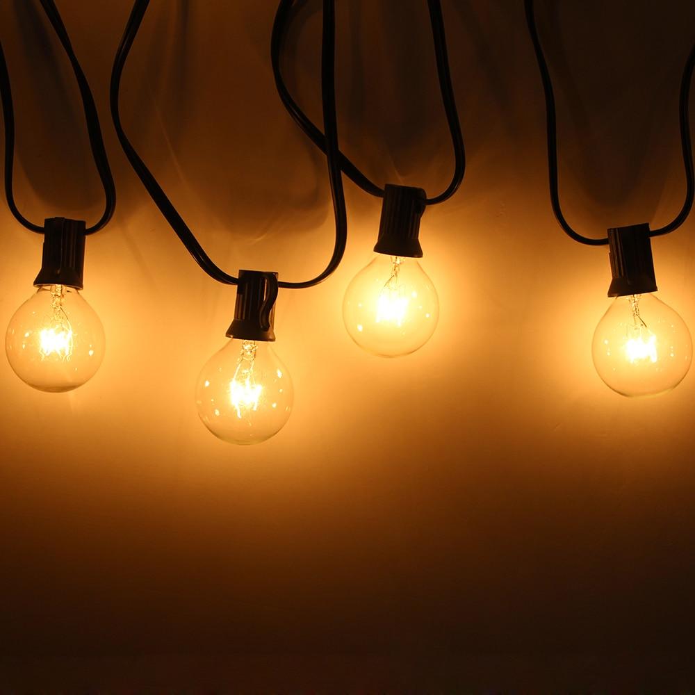 25FT G40 25 Bulbs LED String Light Globe Ball Bulb Outdoor Lighting Patio Decor