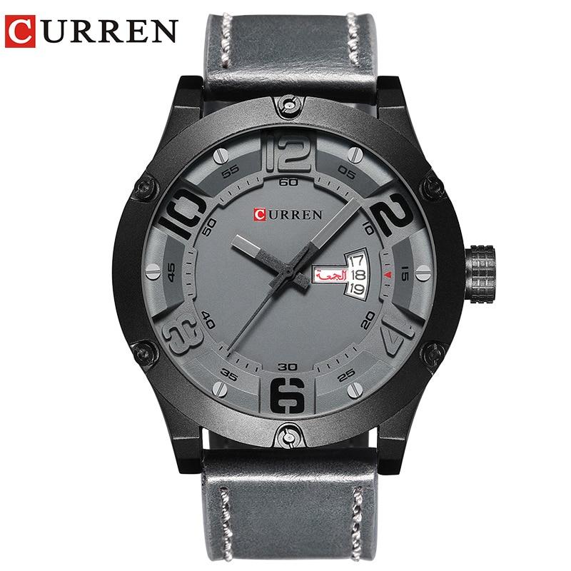 CURREN 2017 модные новые Элитный бренд Relogio Masculino неделю Дата diaplay кожаный ремешок Для мужчин спортивные часы кварцевые часы 8251