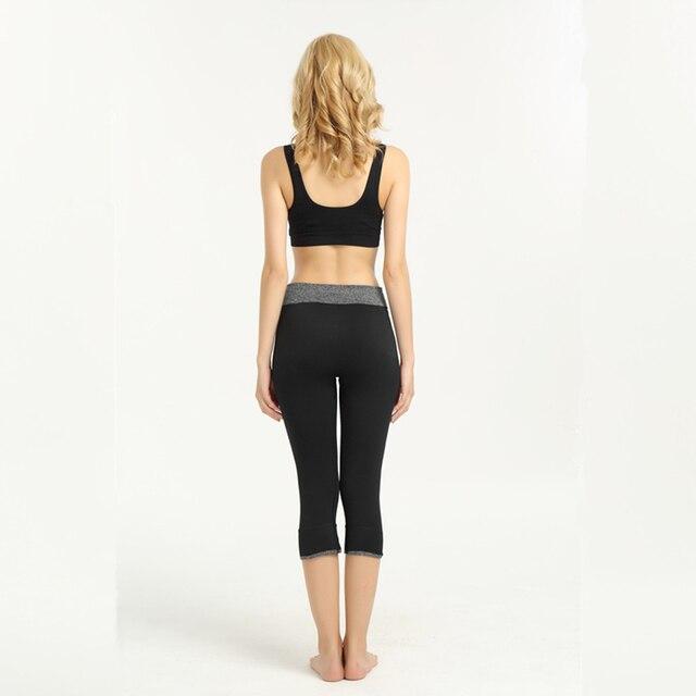 Solid Women Yoga Pants Fitness Sport Cropped Leggings Skinny Capris 3/4 Trousers Pencil Gym Sportswear Spandex Jogging Jeggings