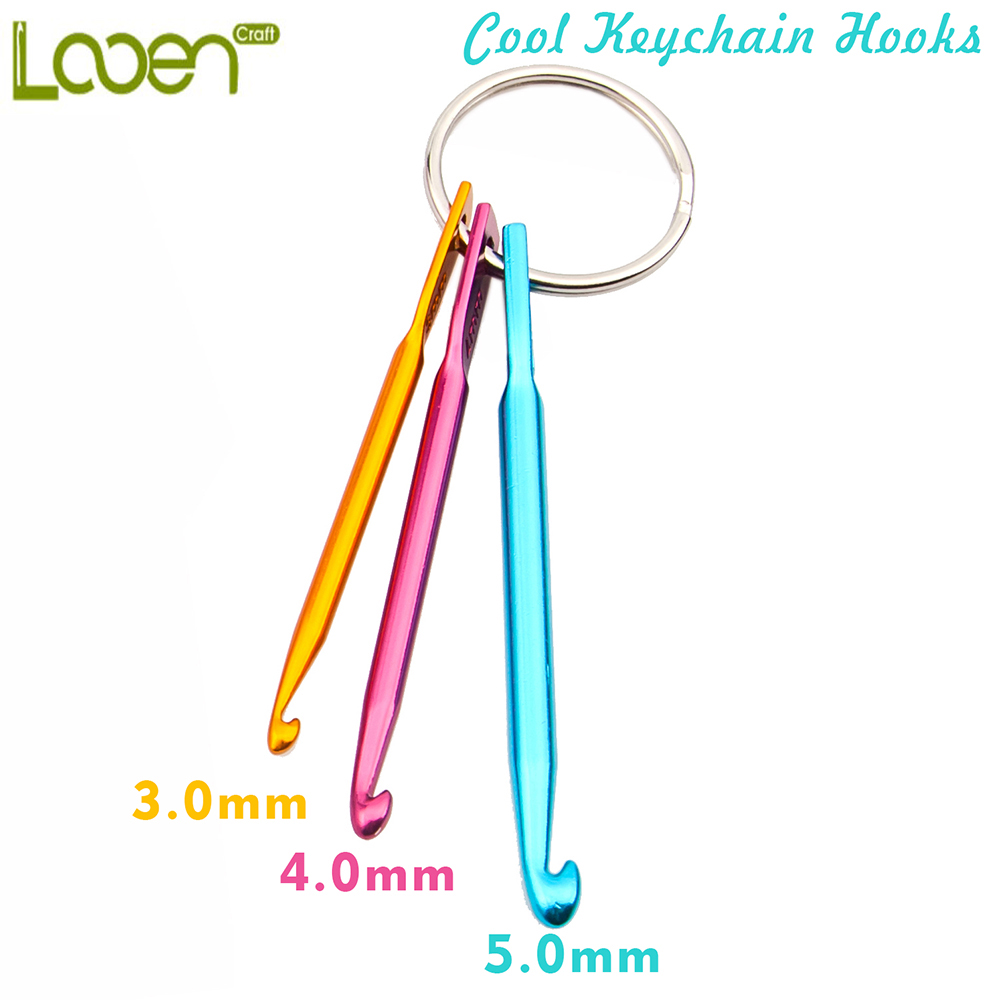 3sizes in 1 Set Keychain Hooks, DIY Multicolour Crafts Knitting Needles Mini Aluminum Crochet Hook ( 5 keychains per lot )