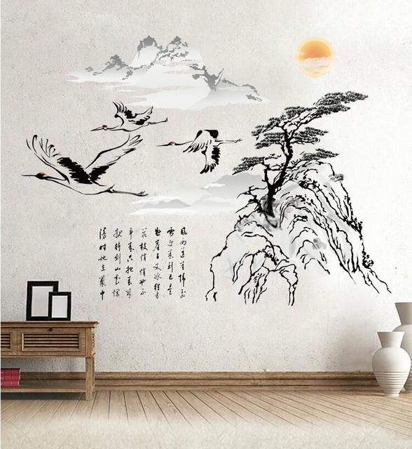 klassische traditionelle chinesische malerei kalligraphie kran baum berg wandaufkleber fr wohnzimmer schlafzimmer wandtattoo home decor - Wandtattoo Wohnzimmer Baum