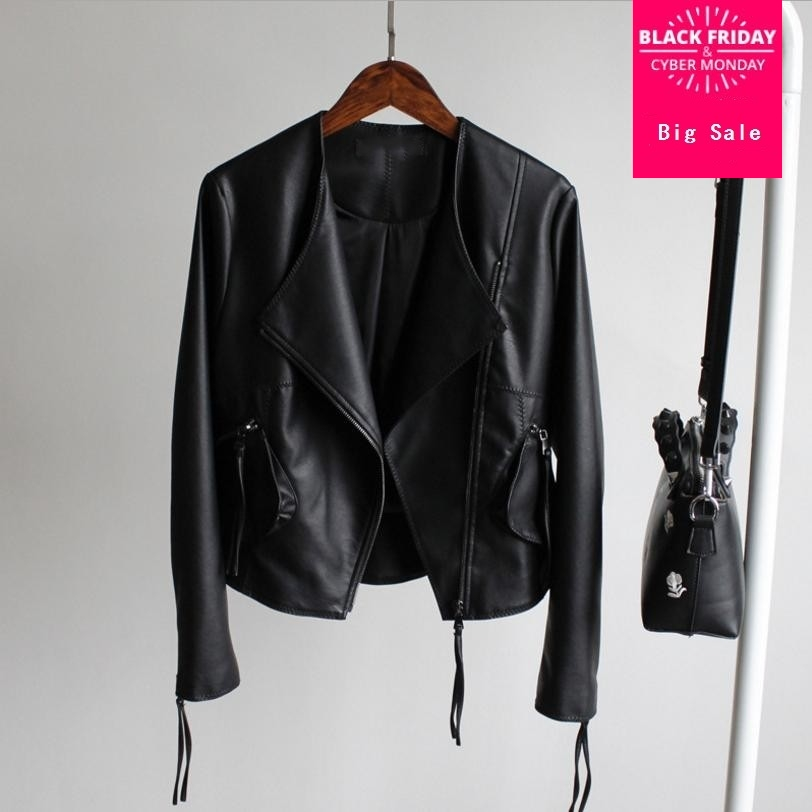 2018 autumn Korean fashion new motorcycle PU jacket coat female short paragraph sexy Slim was thin washed   leather   outwear L797