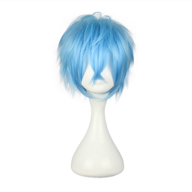 Mcoser 30cm Short Straight Synthetic Light Blue Male