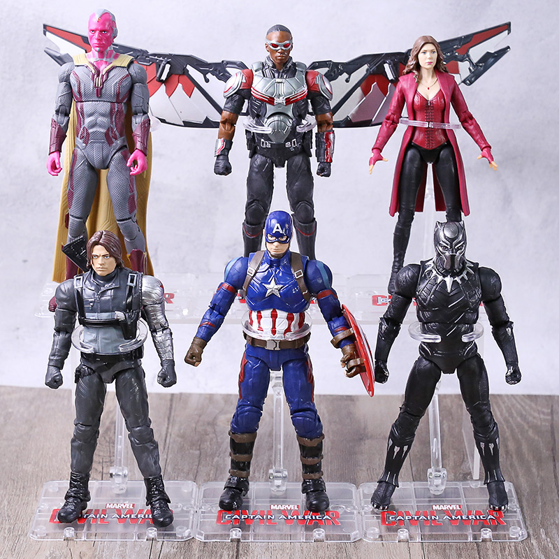 Avengers Figures Vision Falcon Scarlet Witch Bucky Carol Danvers America War Machine Black Panther Iron Man Ant-man Hawkeye
