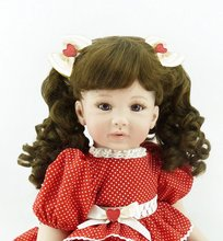 22 inch 55cm Silicone baby reborn dolls Children's toys red dot princess skirt girl with curly hair