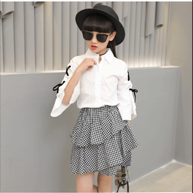 4a5d5836 Girls' children Fashion Korean vogue white jacket black and white check  skirt two pieces kid dress 2pcs clothing sets