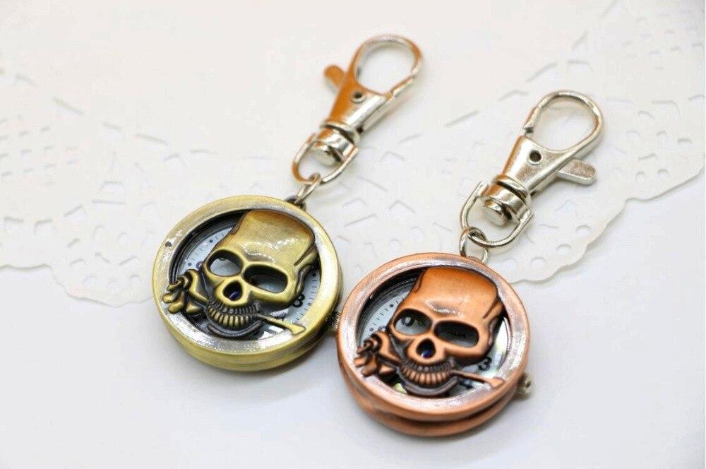 Brand CHAOYADA Bronze One Piece Caribbean Skull Quartz Pocket Watch Men Women Retro Necklace Chain Pendant Watch Gift Reloj