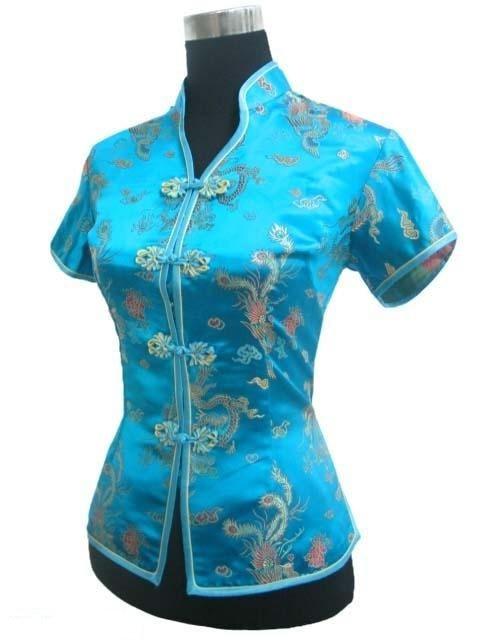 Azul claro Con Cuello En V Camisa Tops Camisa Mujer Blusa Femenina Tradicional C