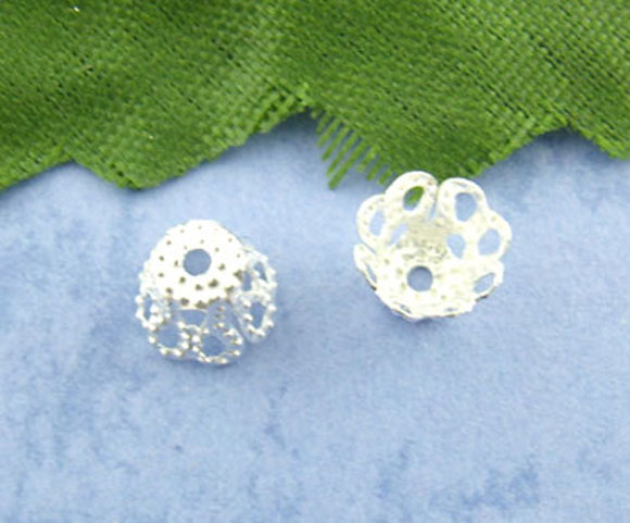 DoreenBeads Alloy Beads Caps Flower Silver color(Fits 8mm-10mm Beads)Flower Hollow Pattern 6mm(2/8