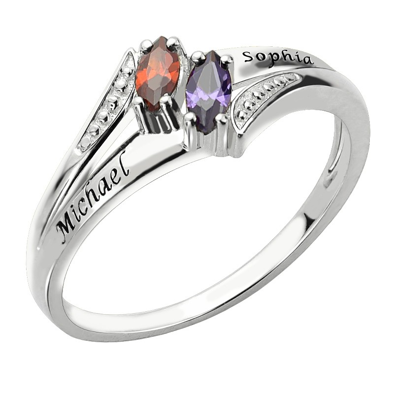 Customized Two Names Birthstone Ring for Couple Lovers Mom Woman Costume Letter Engagement Wedding Rings Silver