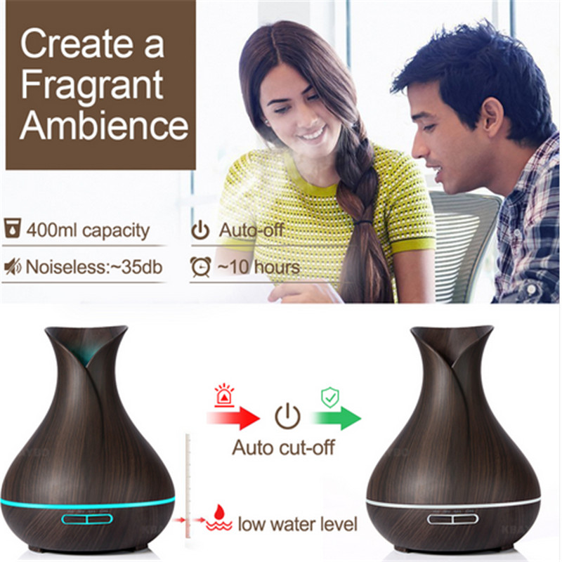 400ml Aroma Essential Oil Diffuser Ultrasonic Air Humidifier Wood LED Night light Office Home Humidificador Difusor Aromatherapy
