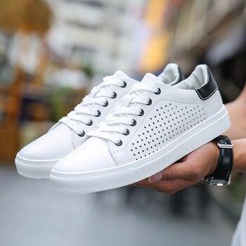 0adb99e51 GUDERIAN/Летняя обувь, мужские дышащие кроссовки, кожаная повседневная обувь,  мужская обувь, Tenis Masculino, обувь для взрослых, на шнуровке, Белая обу.