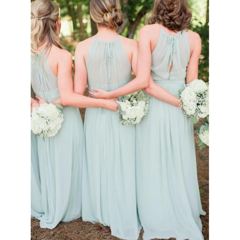 Sage Boho Long Chiffon Bridesmaid Dresses With Straps Maxi Bohemian ...