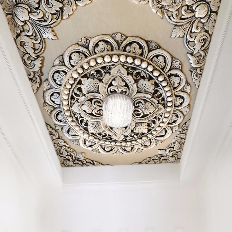 3D Wallpaper European Style Silver Jewelry Flower Ceiling Mural Photo Wall Paper Living Room Hotel Luxury Decor Papel De Parede