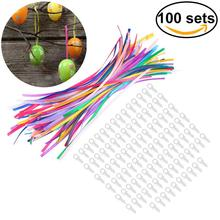 Easter Egg Accessories 100pcs Plastic Ring With 100pcs 18CM Ribbon For Easter Decoration Birthday  Accessory Trinket Gift