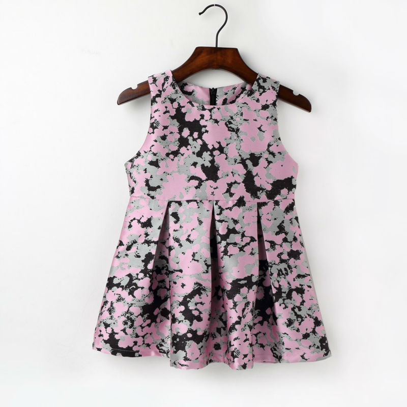 2-7Y Baby Girls O Neck Sleeveless A Line Pleated Dress Children Geometric Pattern Clothes Fashion Cotton Clothing Kids Dresses new kids girls fashion o neck sleeveless dress cute animals print dress girls a line dress clear