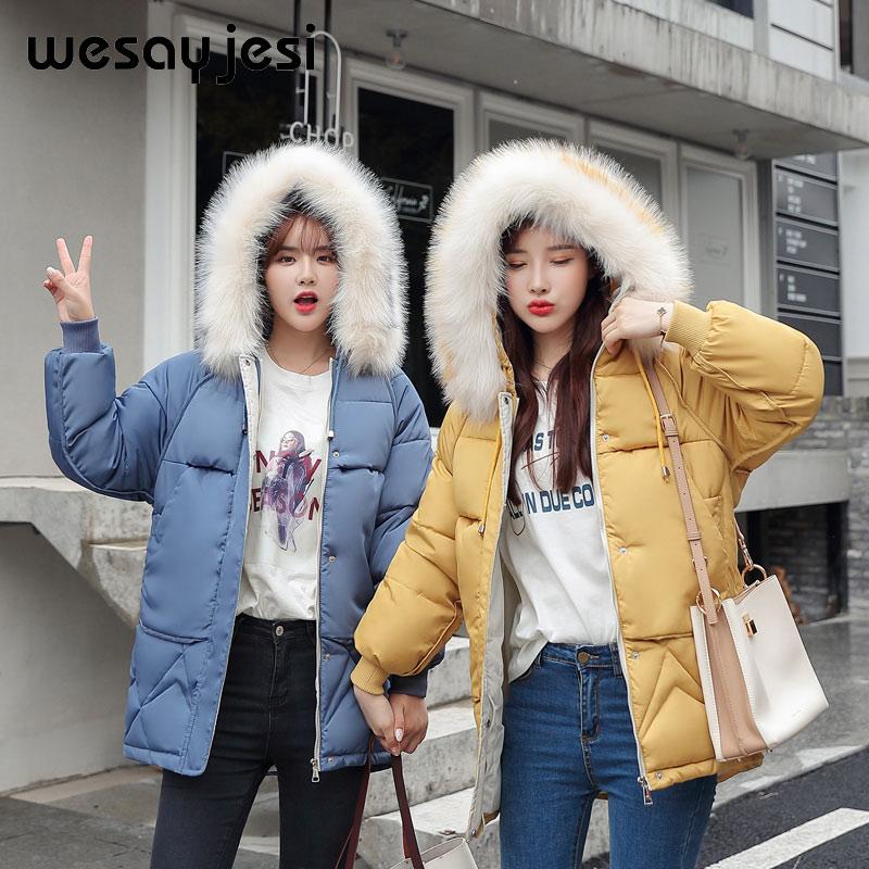 Plus Size Winter Women   Parkas   coat 2019 Fashion thick warm big fur hooded slim jacket coat Solid female jacket for winter M-XXXL
