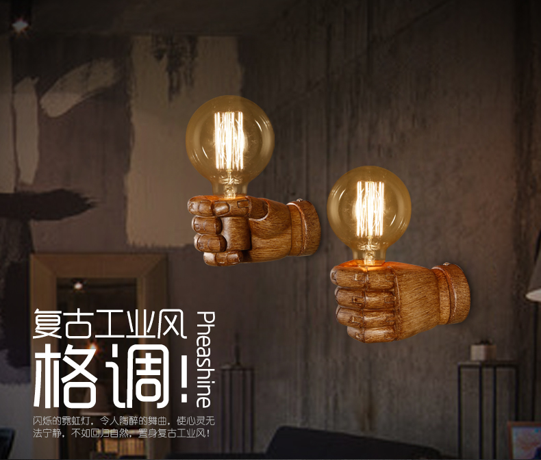 Nordic Loft Style Creative Resin Fist Wall Sconce Industrial Vintage Wall Light For Home Antique LED Wall Lamp Indoor Lighting nordic loft style creative resin fist wall sconce industrial vintage wall light for home antique led wall lamp indoor lighting