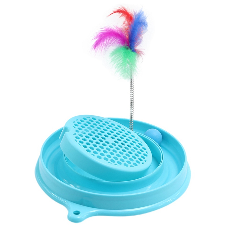 30x30x5CM Cat Toy With Mouse Handmade Cats Kitten Scratcher Turntable Training Toy Interactive Cat Play Ball Toy Blue Pink Color