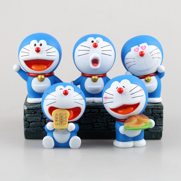 5pcs/set Anime Cartoon Cute Doraemon Stand By Me 80 Anniversary PVC Action Figure Collectible Model Toy Doll Kids Gift KT456 cute doraemon figures toys pvc figure doll can use for phone
