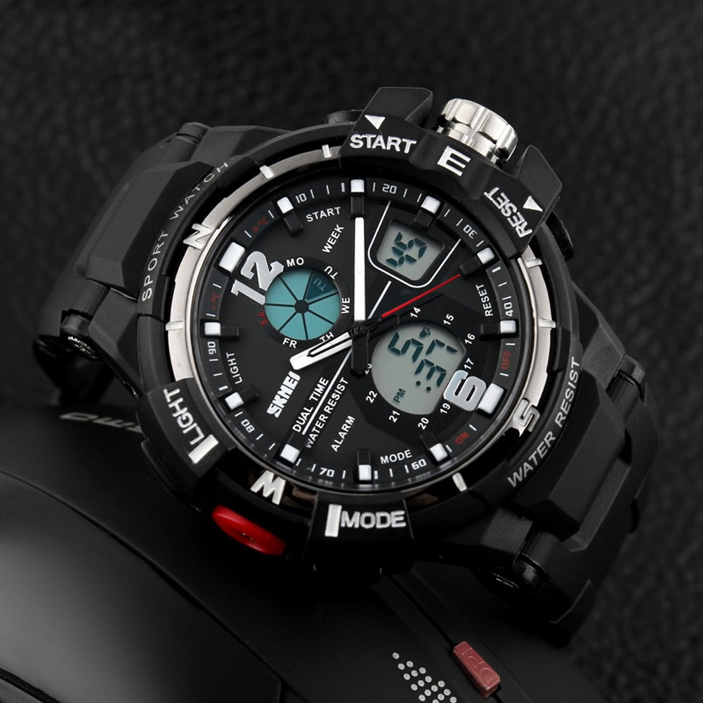 men sport wristwatch digital display quartz movement adjustable male dual time watch dropship watches water resistant hot luxury skmei 1049 50m waterproof solar dual movement dual time zone men s sport watch black blue