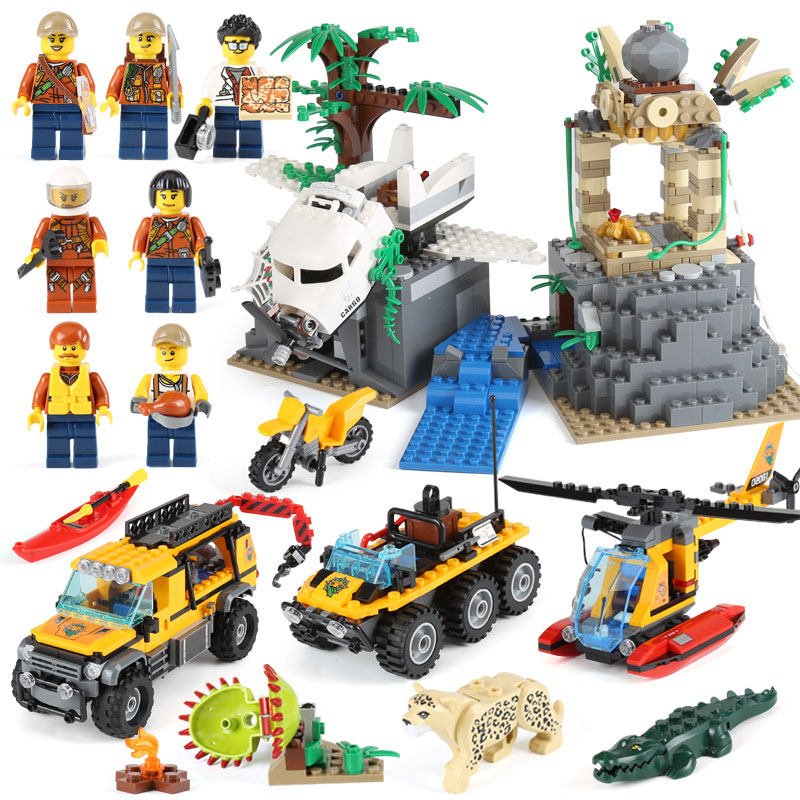 Lepin 02061 Genuine 870Pcs City Series Jungle Exploration Site Compatible With lego 60161 Building Blocks Bricks Christmas Gift lepin 02061 genuine city series the jungle exploration site set 60161 building blocks bricks christmas gift for children 870pcs