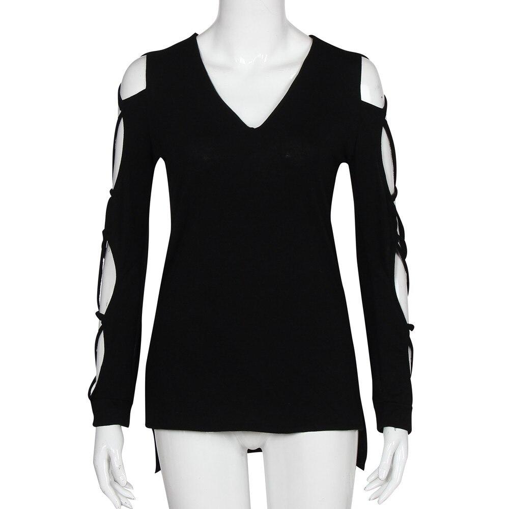 Moda Casual Negro 2018 Primavera Blusa Asimétrica Tops Otoño Capucha Camisas Con Larga Dobladillo Club Mujer Manga Grande Hueco Sexy Talla dr44qxYw