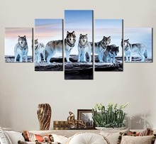5 Pieces Animal Wolf Running In The Snow Modern Home Wall Decor Canvas Picture Art HD Print Painting On For Living Room