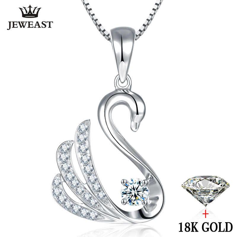 قلادة الماس 18K الذهب سوان مجموعة نقية الطبيعية الصلبة الحقيقي 750 حقيقية النساء فتاة هدية حفلة العصرية جيد خصم بيع 2020