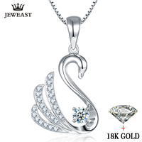 Diamond Pendant 18K Gold Swan Group Pure natural real solid 750 Genuine women girl gift party trendy good hot sale discount 2017