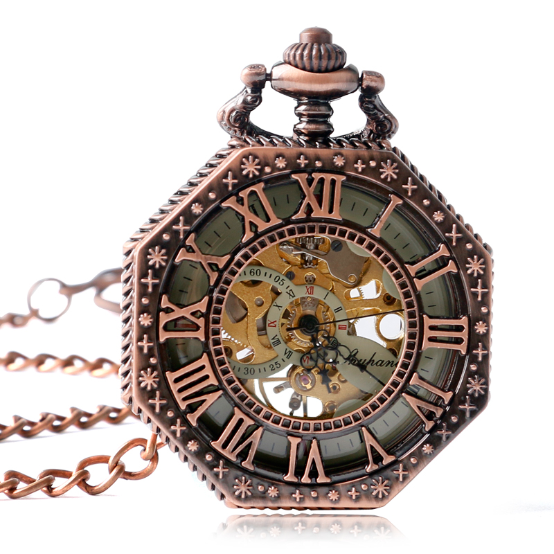SHUHANG Cool Steampunk Roman Numbers Mechanical Pocket Watch Cooper Skeleton Fob Watches Men Women Pendant Gift 2017 unique smooth case pocket watch mechanical automatic watches with pendant chain necklace men women gift relogio de bolso