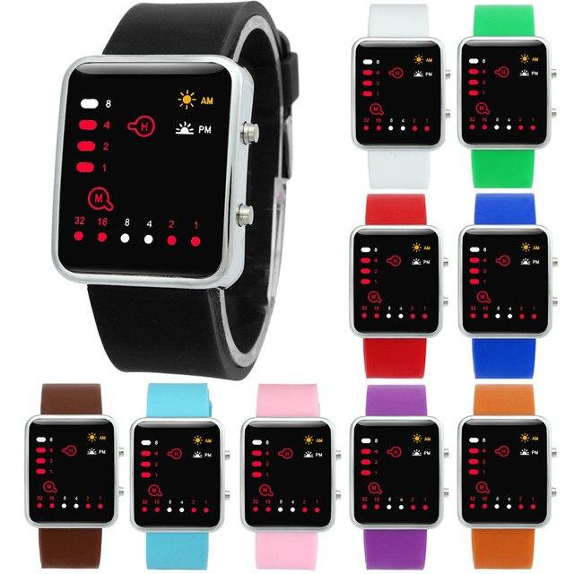 b5d392969edf3 Novo Relógio Digital de Mulheres 2017 Silicone Led Relógio Binário Esportes  relógio de Pulso Lady Digital