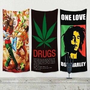 Боб Марли ямайский регги плакат стикер на стену большой флаг баннер занавеска HD 4 отверстия гобелен Печать Ткань художественное оформление ...