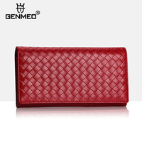 New Arrival Genuine Leather Wallets Famous Brand Designer Cow Leather Wallet Women's Real Leather Purse with iPhone Pocket Bolsa