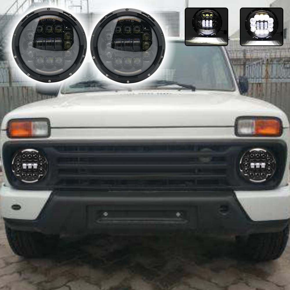 For Lada Niva Hummer H2 Light 7 90W LED Projector Headlight for Jeep Wrangler JK TJ