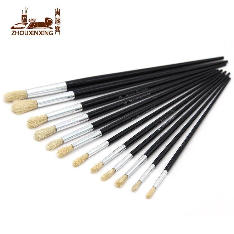 Zhouxinxing Black Wood Rod Round Head Bristle Brush Row Pen 12pcs/set Watercolor Brushes Acrylic Painting Acrylic Paint Brush