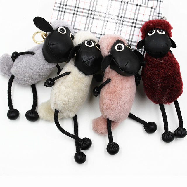 New Sheep keychain Real lambs wool Fur keychain key ring Pom Pom Keyring Bag Car Trinket Women Gift