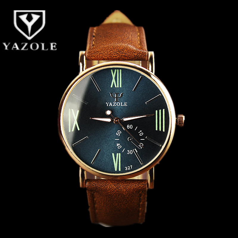 2017 YAZOLE Luxury Brand Quartz Watch Fashion Casual Leather Watches Men Watch Luminous Waterproof Sport Wristwatch reloj hombre