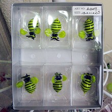 Manufacturers wholesale color glass bee miniature sculpture Easter home gardening cartoon animal decorative pendant set